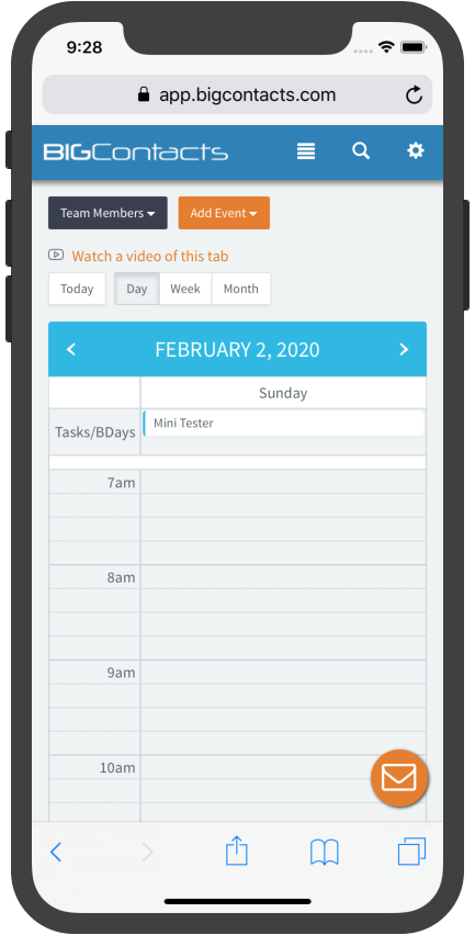 BigContacts Mobile Edition - Day Calendar