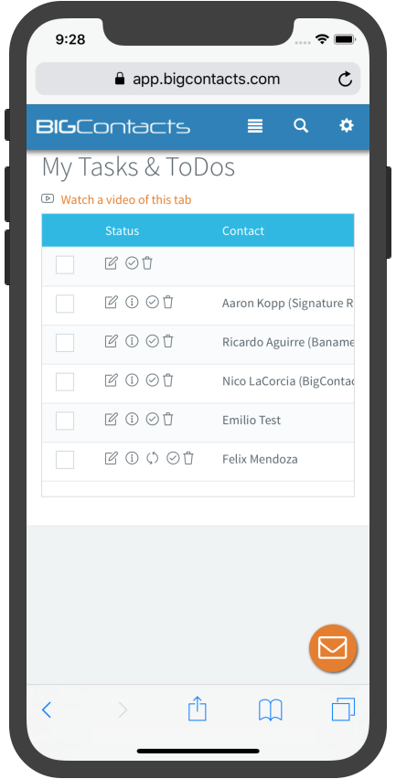 BigContacts Mobile Edition - Task List