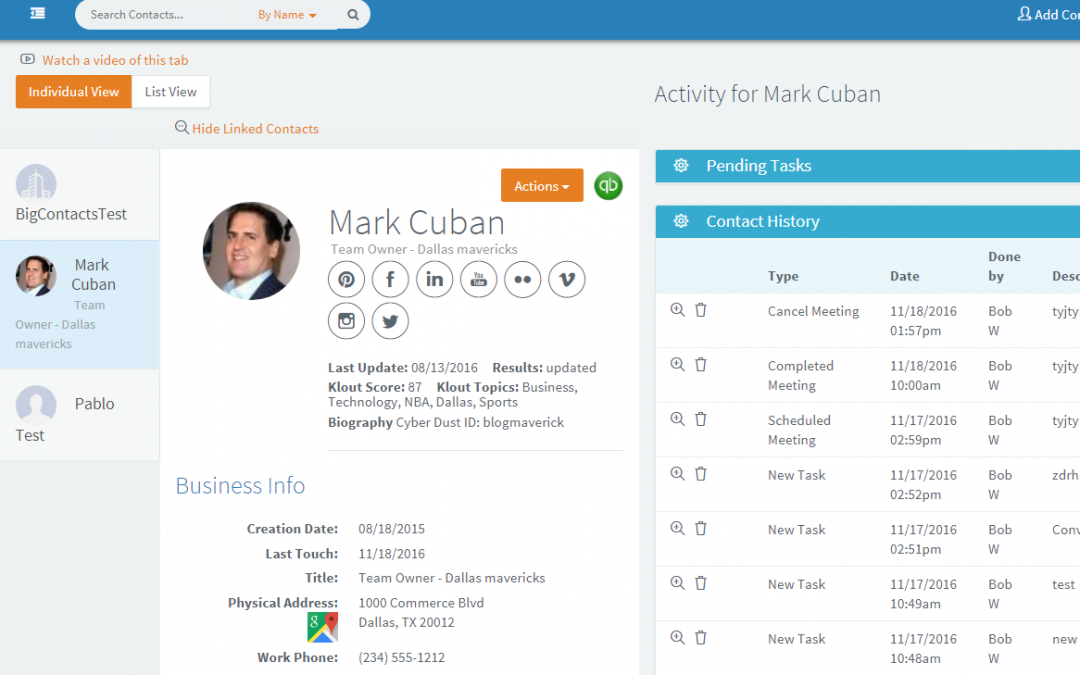 Customize your Contact Dashboard view with BigContacts CRM