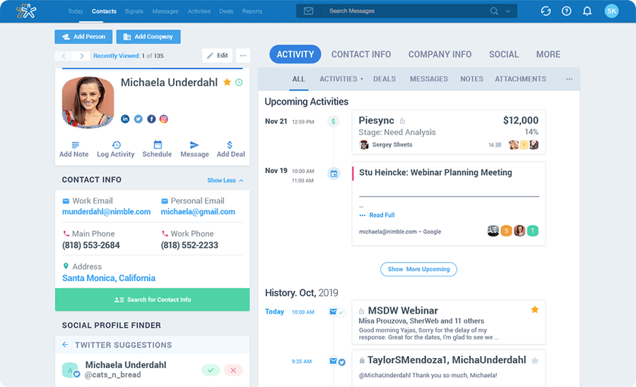 Nimble is the only CRM that builds itself for you